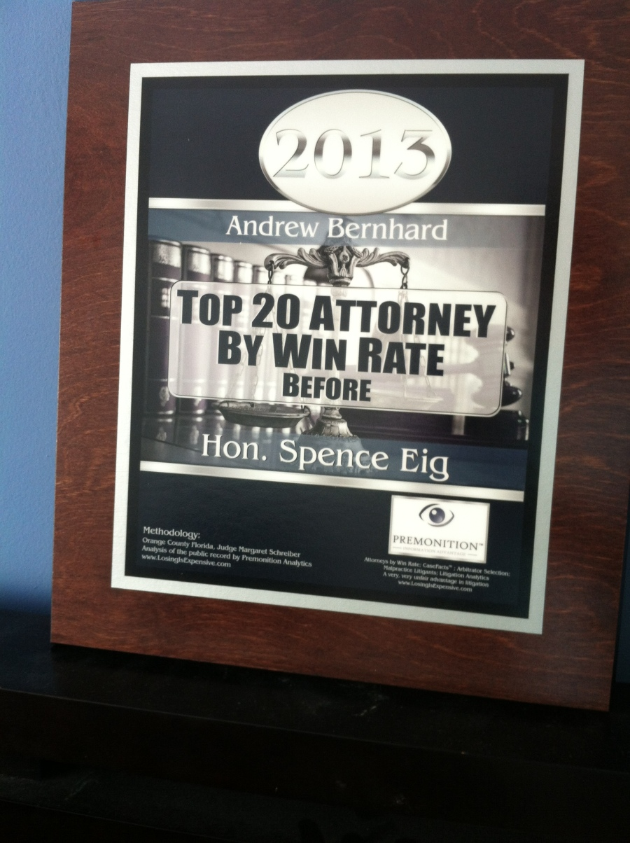 Andrew Bernhard - top 20 attorney by win rate in Miami court