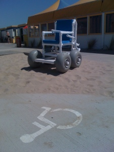 Martin Kliehm - http://www.flickr.com/photos/martin-kliehm/5657427308/sizes/l/in/photostream/ Wheelchair designed with wide wheels for traveling on beach sand. Available to rent to use at this beach, in the Netherlands.