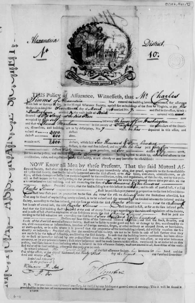 Fire insurance contract of 1796 Charles Simms - http://memory.loc.gov/master/mss/mtj/mtj1/020/0700/0789.jpg