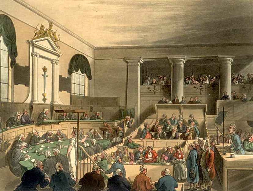 A trial at the Old Bailey in London as drawn by Thomas Rowlandson and Augustus Pugin for Ackermann's Microcosm of London (1808–11).