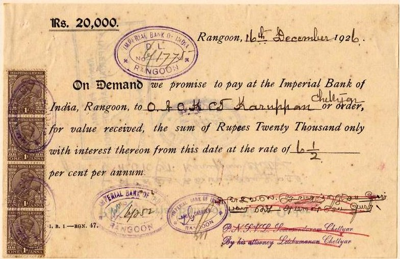 """Burma 1926 Promissory Note"" by Imperial Bank of India - Scan of original. Licensed under Public Domain via Wikimedia Commons - http://commons.wikimedia.org/wiki/File:Burma_1926_Promissory_Note.jpg#mediaviewer/File:Burma_1926_Promissory_Note.jpg"