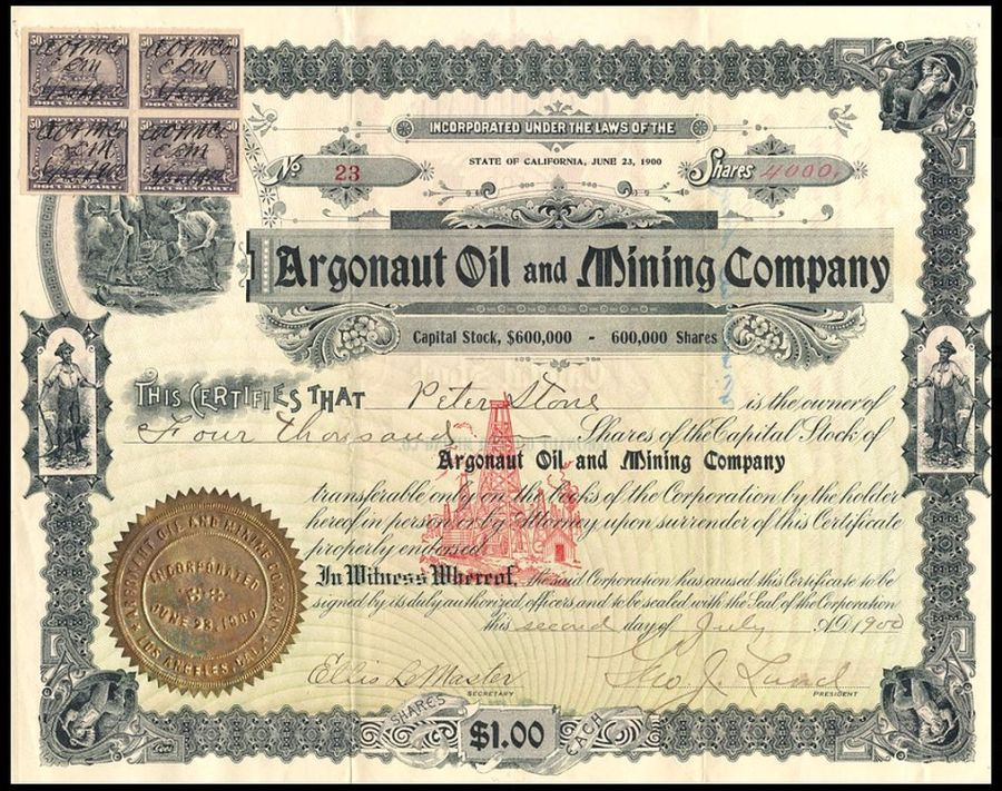 Argonaut_Oil_&_Mining_Co_stock_1900_and_rev_stamps